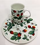Roy Kirkham England 2-piece Alpine Strawberries Snack Plate and Mug Set