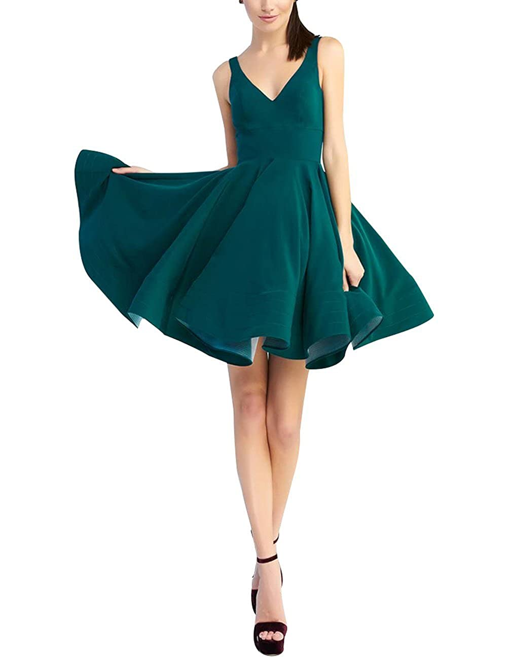 Short Homecoming Dresses 2018 A-Line V Neck Cocktail Prom Gowns for Women Satin