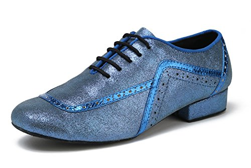 Fashion 2 Ballroom Lace GL235 Dance up Blue Professional Shoes Tango 5cm Mens Glitter Heel Latin Minishion qOXSwB