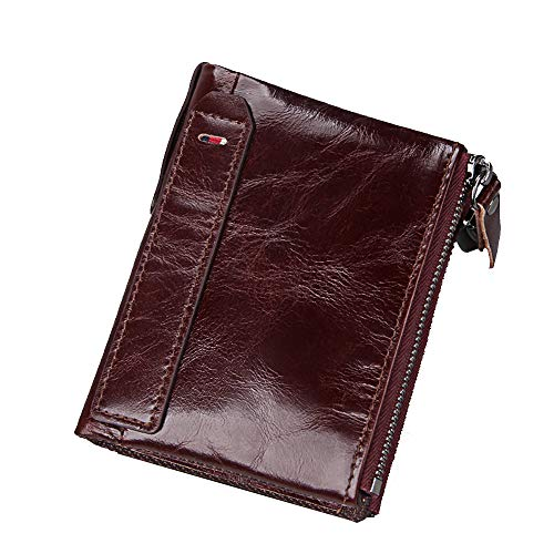 Zipper Front Leather Pants - Men RFID Blocking Wallet Small Vintage Crazy Horse Leather Short Purse Bifold (4.8