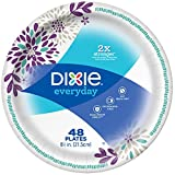 "Dixie Everyday Paper Plates, 8 1/2"", 480 Count, 10 Packs of 48 Plates, Lunch or Light Dinner Size Printed Disposable Plates"