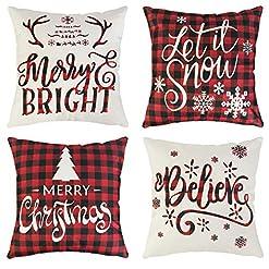 Christmas Farmhouse Home Decor Ouddy 4Pcs Christmas Pillow Covers, Holiday Winter Throw Pillow Covers 18×18 Farmhouse Merry Christmas Quotes Saying… farmhouse christmas pillow covers