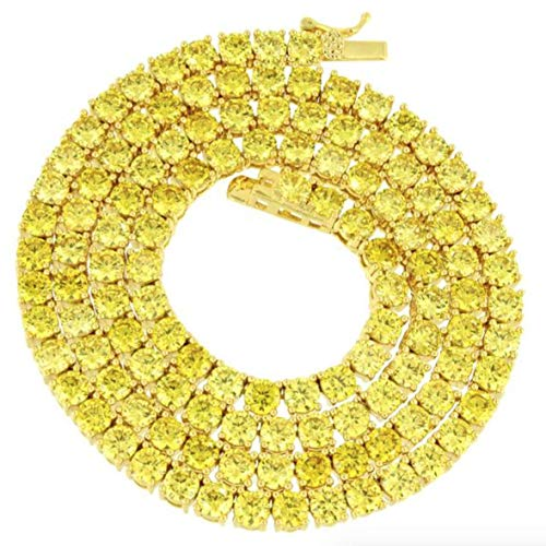 (Bling Bling NY New 1 Row Tennis Necklace Choker Chain Lab Created Diamonds 4MM Iced Out Solitaires Multi Color 18-24 inches (Yellow/Gold, 18.0))
