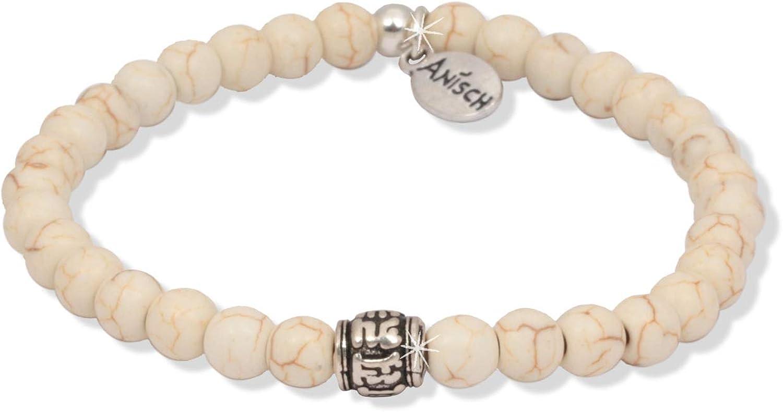 Anisch de la Cara Hombre Pulsera Little Magnesite - Pulsera de Piedras Preciosas con Cuentas de Mantra para Hombre con Plata de Ley, 6 mm Mantra Beads - Arte no 93360-e.1