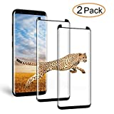 [2-Pack] Galaxy S8 Plus Glass Screen Protector, XKAUDIE Screen Protector [No Bubbles][Anti-Glare][Anti Fingerprint] 3D Curved Tempered Glass Screen Protector for Samsung Galaxy S8 Plus - Black