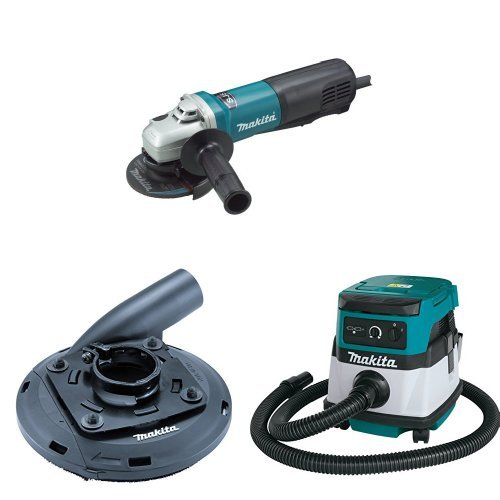 Makita 9564PC 4-1/2-Inch Angle Grinder with Paddle Switch  with Makita 195236-5 4-1/2-Inch - 5-Inch Dust Shroud  with Makita XCV04Z 18V X2 LXT Lithium-Ion Cordless/Corded Dry Vacuum, 2.1 gallon