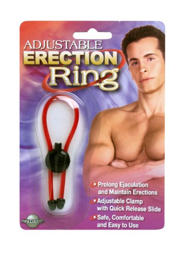 Soft Rubber Adjustable Erection Loop Style Cock Ring (Red) for Prolonged Love Making !