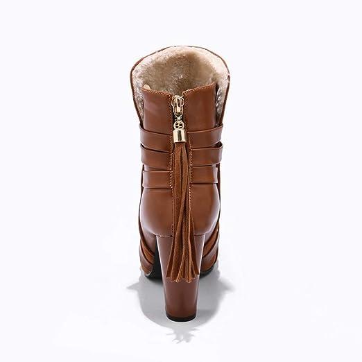 JiaMeng Botas de Nieve Mujeres Antideslizante Impermeable Plano Botines Zapatos con borlas Solid Color Scrub Botas de tacón Alto con Punta Antideslizante y ...