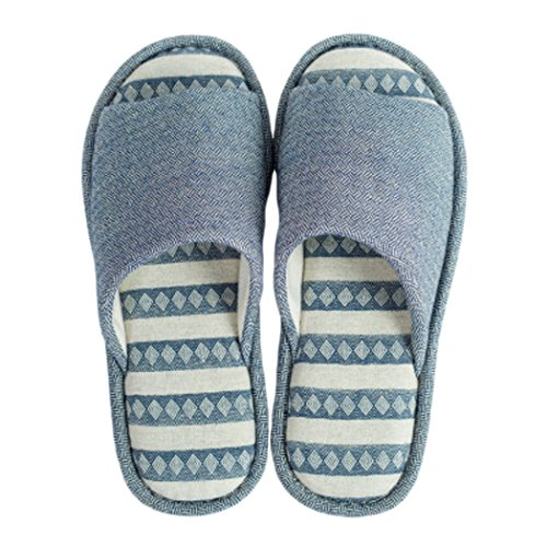 NeedBo Mens and Womens Slippers Comfort Cotton Anti-Slip Casual House Slippers | Indoor/Outdoor Dark Blue 4IdBpe8R