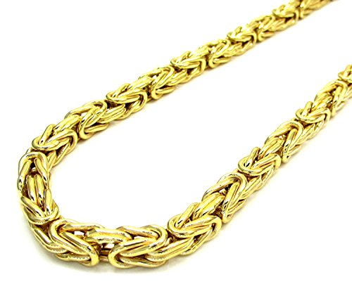 14K Yellow Gold Men's 2.5MM Solid Byzantine Chains Lobster Clasp, 16 to 22 Inches (20) by Jawa Fashion