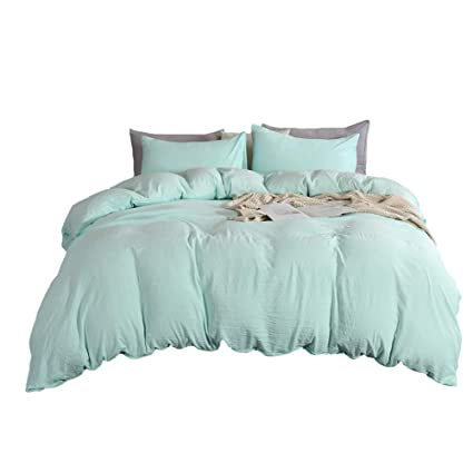 MOVE OVER 3 Pieces Mint Green Duvet Cover Set Green Bedding 100% Washed  Microfiber Quilt