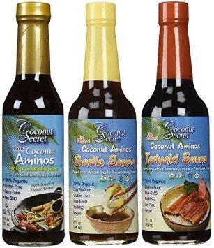 Garlic Teriyaki - Coconut Secret Coconut Aminos Teriyaki Sauce, Garlic Sauce, and Aminos 3 Pack