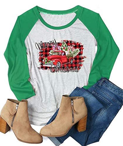 Plaid Merry Christmas Car Tree T Shirts Womens Candy Cane 3/4 Raglan Sleeve O-Neck Splicing Baseball Tees Tops Size L (Green)