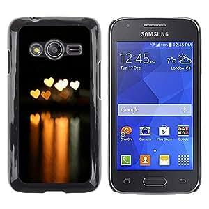 TopCaseStore / la caja del caucho duro de la cubierta de protección de la piel - Bokeh Lights Hearts - Samsung Galaxy Ace 4 G313 SM-G313F