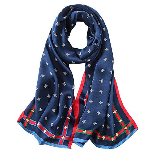 NUWEERIR Womens 100% Mulberry Silk Scarf Long Satin Scarf Fashion Designer Scarf Lightweight Neck - Scarf Stripe Silk Long