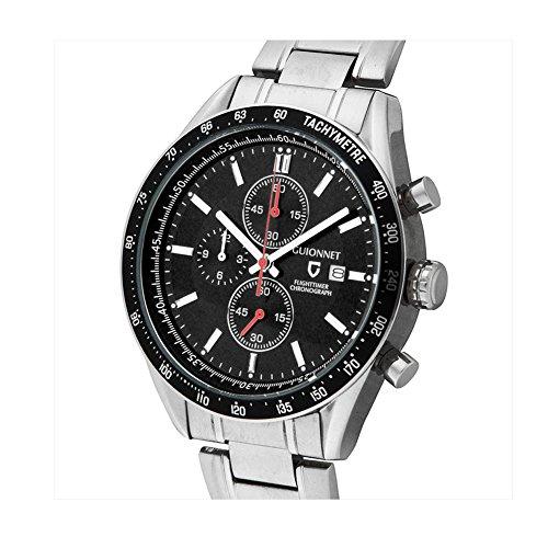 Guionnet Men Flighttimer Watch Chronograph Tachymeter Function Quartz Metal Silver Black