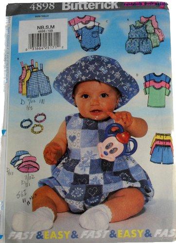 Butterick Pattern 4898 ~ Infant Romper, Overalls, T-Shirt, Shorts, Hat & Headband, Newborn-Small-Medium