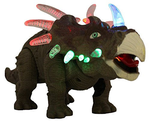 FanBell Battery Powered Triceratops Dinosaur Toy Realistic Sounds and Fun Lights, Walks and Roars(Colors May Vary)