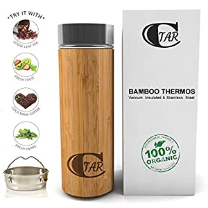 Premium Bamboo Tumbler with Tea Infuser & Strainer by CTAR / Double Wall Insulated Stainless Steel Interior / 17oz Stainless Steel Water Bottle / BPA-Free Cup / Tea & Fruit Infuser / Best Gift