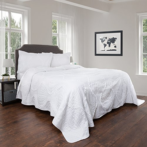 Quilt and Sham Set- Hypoallergenic 3 Piece Oversized King Quilt Bed Set with Curved Ruffle Design- Charlize Series By Lavish Home (White)