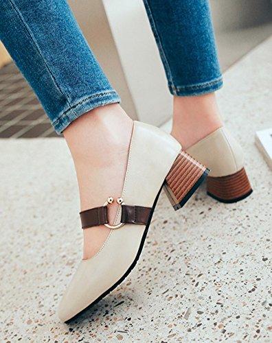 Womens Pumps Ankle Cut Toe Shoes Block Low On Square Strap Comfort Beige Trendy Mid Aisun Dressy Slip Heel qdpOZnw