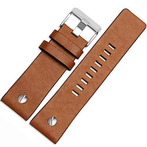 Calfskin Leather Watch Band for Diesel Watches, 26 mm 28mm Watch Strap (28 mm, Brown) ()