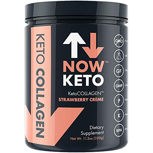 NOWKETO® KetoCOLLAGEN™ Peptides w/MCTs Powder (Medium Chain Triglycerides) – Keto Diet – Low Carb High Fat (LCHF) & Great Fiber Source, Great for The Ketogenic Diet & Ketosis- Strawberry Creme For Sale