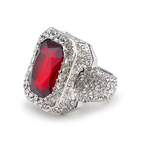 HongBoom Hot Hip Hop Rings 18K Gold Silver Plated CZ CRYSTAL Fully Iced-Out CUBAN Ruby Ring (Silver /US size 9)