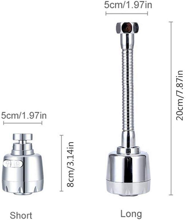 Pulv/érisateur de Robinet D/évier court T/ête de Robinet Flexible /à 360 Degr/és Adaptateur de Filtre de Buse Cuisine avec 2 Modes de Pulv/érisation Convient aux Interfaces de Filetage 22mm // 24mm