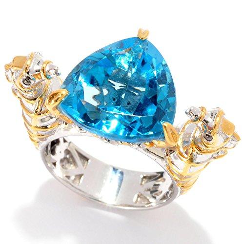 Michael Valitutti Palladium Silver Trillion Swiss Blue Topaz & Sapphire Seahorse Ring (Seahorse Sapphire)