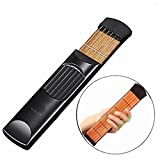 Luvay Pocket Guitar, Finger Exercise, Scales & Chords Practice Tool (6 Fret Black)