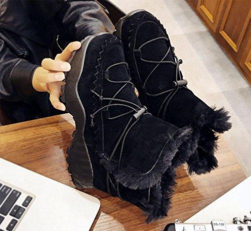 Grueso Algodón Casual Zapatos Nieve Moda Cachemira Calidez Botas De Black Meili Tubo Además Fondo Corto Mujer 7q8SqT