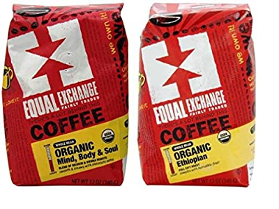 Equal Exchange Organic Fair Trade Whole Bean Coffee 2 Flavor Variety Bundle: (1) Mind, Body & Soul Vienna Roast Blend Coffee, and (1) Ethiopian Full City Roast Coffee, 12 Oz. Ea.