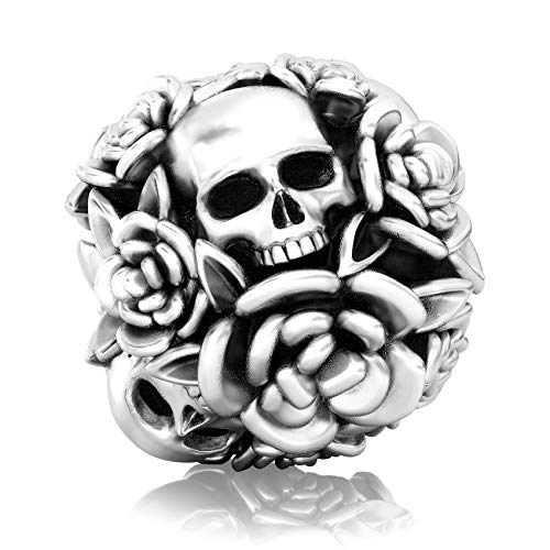 Authentic BELLA FASCINI Skull Rose Flower Bouquet Bead Charm - de Muertos - 925 Silver - Fits -