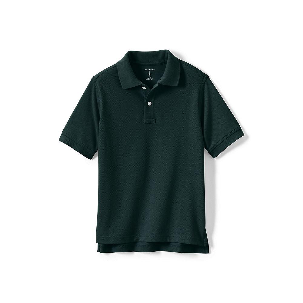 Lands' End School Uniform Big Kids Short Sleeve Performance Mesh Polo, M, Evergreen