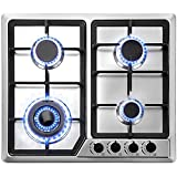 Happybuy 23x20 inches Built in Gas Cooktop 4 Burners Gas Stove Cooktop Stainless Steel Cooktop Gas Hob With Liquid...