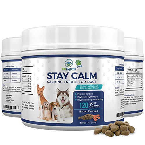 120 Calming Treats for Dogs - Dog Anxiety Relief - With Organic Hemp Protein + Valerian + L Tryptophan - Dog Calming Treats for Stress, Jumping, Thunder & Barking | Bacon Flavored Soft Dog Chews