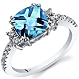 14K White Gold Swiss Blue Topaz Ring Cushion Checkerboard Cut 2.50 Carats Size 7