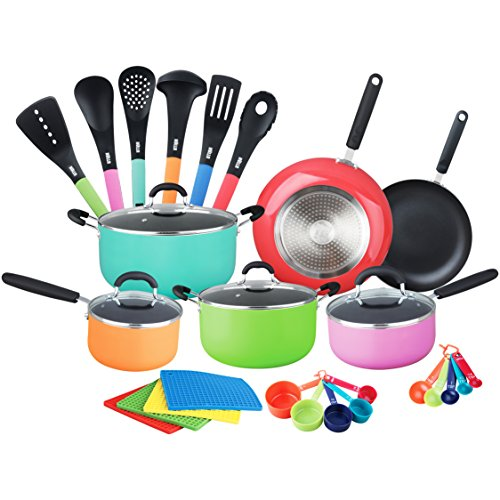 HULLR Aluminum Nonstick All In One Kitchen Cookware Set Includes Stock Pot, Dutch Oven, Frying/ Sauté Pan, Saucepan, Serving Utensils, Measuring Cups / Spoons Induction Base 30 Count MultiColor - Aluminum Cookware Pot