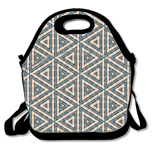Geometrical Pattern Overlay Beige Blue Design Insulated Neoprene Lunch Bag-Removable Shoulder Strap-Reusable Thermal Thick Lunch Tote/Lunch Box/Cooler Bag For Adults,Kids,Women,Men,Teens,Girls,Baby