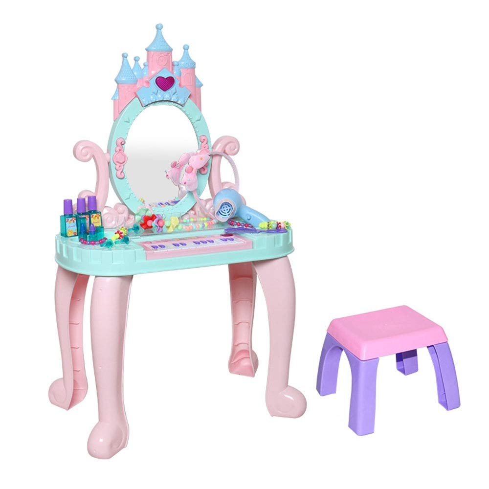 LIUFENGLONG Girls Dressing Vanity Table Play Set Children's Pink Dream Pretend Play Piano Princess Vanity Table Interactive Toy Perfect Beauty Toy Set (Color : Blue, Size : 742344CM)