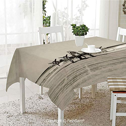 Premium Waterproof Table Cover World War II Era Heavy Bomber Front View Old Photo Flying History Takeoff Aeronautics Decorative Washable Table Protectors for Family Dinners(W60 xL104)