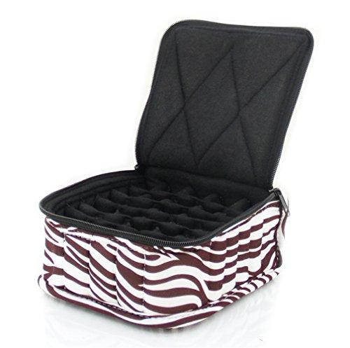 """30-Bottle Essential Oil Designer Carrying Case holds 5ml, 10ml and 15ml bottles - Zebra - Dark Brown w/White Stripes w/Black interior - 3"""" high"""