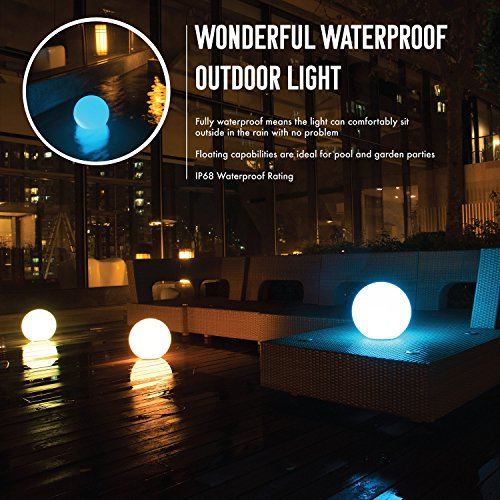 INNOKA 19.68-inch Waterproof Rechargeable Floating Glow Ball LED Lamp w/ Remote Control, Multiple Lighting Effects, Hanging Hook, Grass Stake, Perfect For Outdoor, Indoor, Poolside, Garden Parties by INNOKA (Image #1)