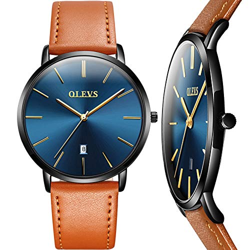 Mens Ultra Thin Quartz Analog Date Wrist Watch,Men's Watches with Blue Face,Classic Leather Watch with Black Case,Casual Waterproof Watches for Men,Slim Water Resistant 30M Simple Design Wristwatch