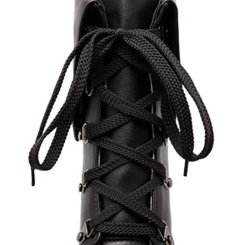 AllhqFashion Womens Pu Solid Lace Up Round Closed Toe High Heels Boots Black ijcSMHcfE4