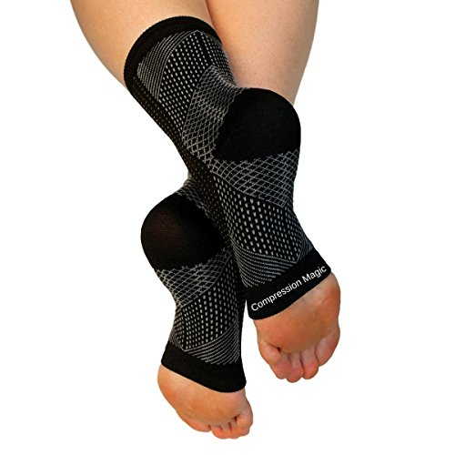 Compression Magic (1 pair Foot Sleeves - Sock Supports that Relieve Pain and Swelling in Feet and Ankles for Men and Women - Black Medium by Compression Magic