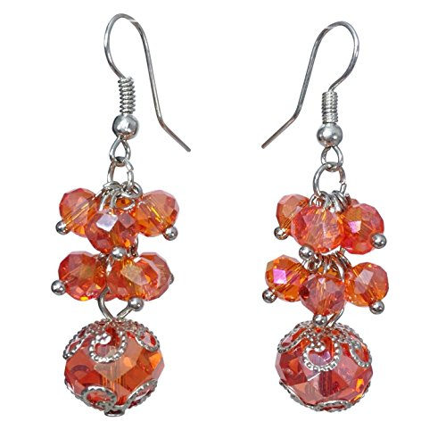 - Glass Bead Cluster Silver Tone Dangle Earrings - Assorted Colors (Orange)
