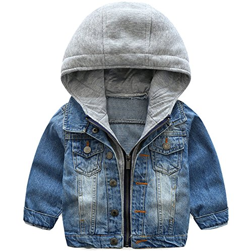 ARAUS Baby Boys' Hooded Denim Parka Jacket Pockets Coat Girls Denim Cropped Fashion Cowboy Tops Button Costume Outfits for 1-7 years (1-2 years old) - Denim Cowboy Costume