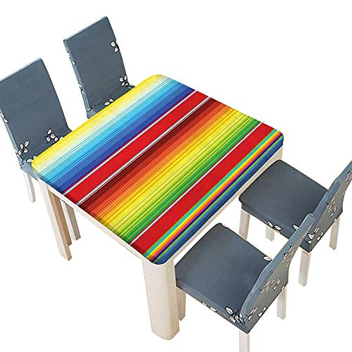 PINAFORE Polyester Tablecloths Horizontal Colored Ethnic Blanket Rug Lines Pattern Bright Decorative Design Multi Indoor Outdoor Use 72.5 x 72.5 INCH (Elastic Edge)
